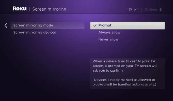Click Prompt in the screen mirroring