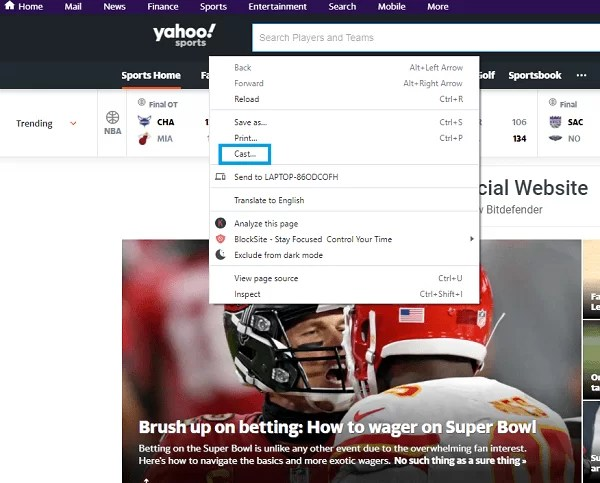 Chromecast Yahoo Sports from Computer