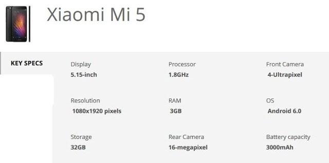 xiaomi mi 5 specification techfoogle.com