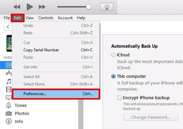 iTunes-Preferences
