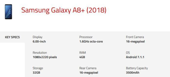 Samsung Galaxy A8 Plus 2018 Specs