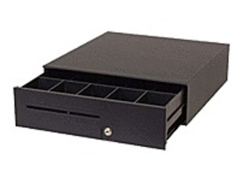 The APG Series 100 cash drawer's small size saves counter space yet offers a full-size till plus a large media and coin roll storage area. Inside this attractive, compact cash drawer is a full-size till with plenty of storage space underneath. There is room to store coin rolls and packaged bills, which saves on cash runs in the middle of a shift. The adjustable media slot lets sales associates conveniently insert charge slips, checks, coupons or other media into separate compartments as they are received, saving time at the end of a shift. This cash drawer features the fixed till (5 bill slots, 5 coin slots). T371-BL16195