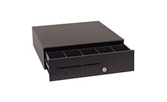 The APG Series 100 cash drawer's small size saves counter space yet offers a fullsize till plus a large media and coin roll storage area. Inside this attractive, compact cash drawer is a full-size till with plenty of storage space underneath. There is room to store coin rolls and packaged bills, which saves on cash runs in the middle of a shift. The adjustable media slot lets sales associates conveniently insert charge slips, checks, coupons or other media into separate compartments as they are received, s aving time at the end of a shift. The following features demonstrates how the Series 100 is sturdy enough to withstand the wear and tear of the workplace. T320-BL16195