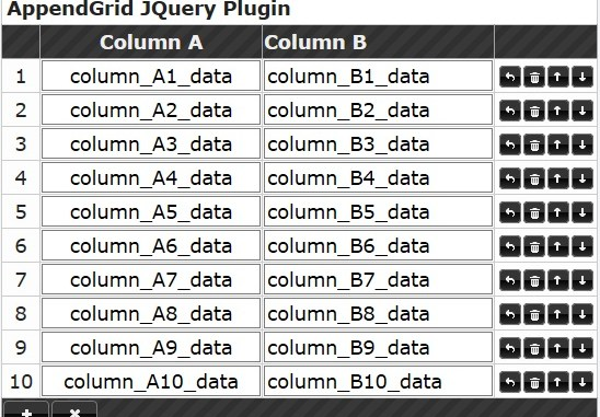 Append Grid JQuery Plugin