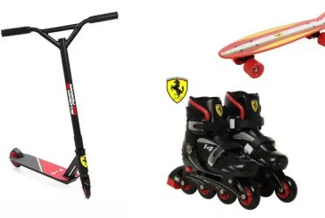 Ferrari scooters, skateboards and skating shoes for kids
