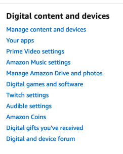 Amazon Digital Settings