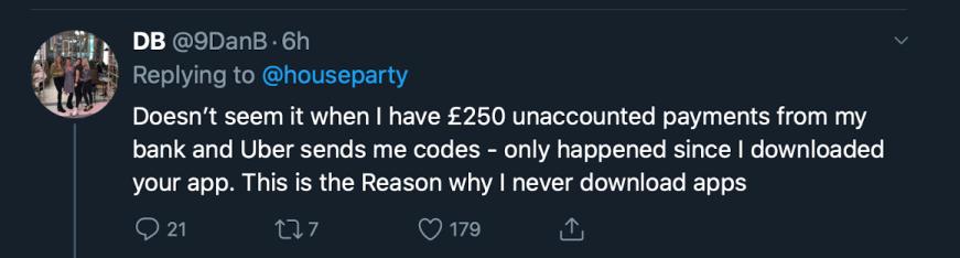 Houseparty hack tweet 1