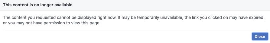 Facebook Error Msg
