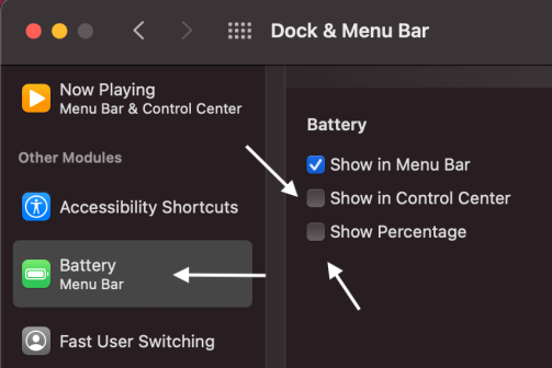 macOS dock & menu bar battery choice
