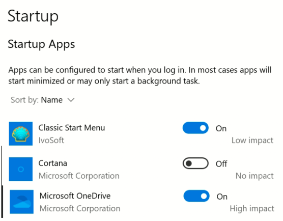 Win10 startup apps