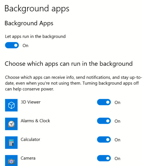 Win10 Background Apps
