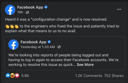 FB Issue reason 1 23 21