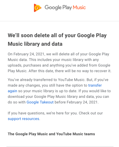 End Notice Google Play Music