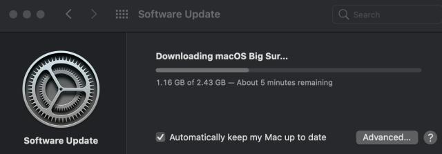 macOS 11.2.1 update screen
