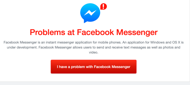 FB Messenger outage down detector