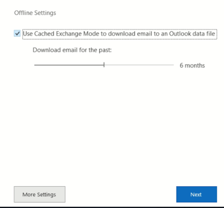 Outlook Cached email setting A