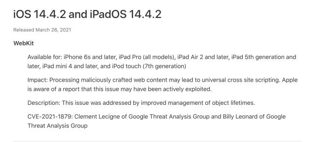 Apple Emergency Update Info
