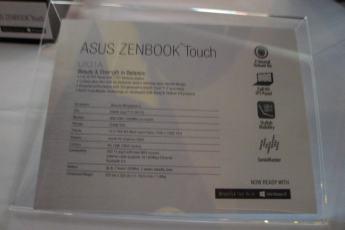 Asus Zenbook Touch specs