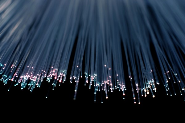 Strands of fibre light in blue and purple