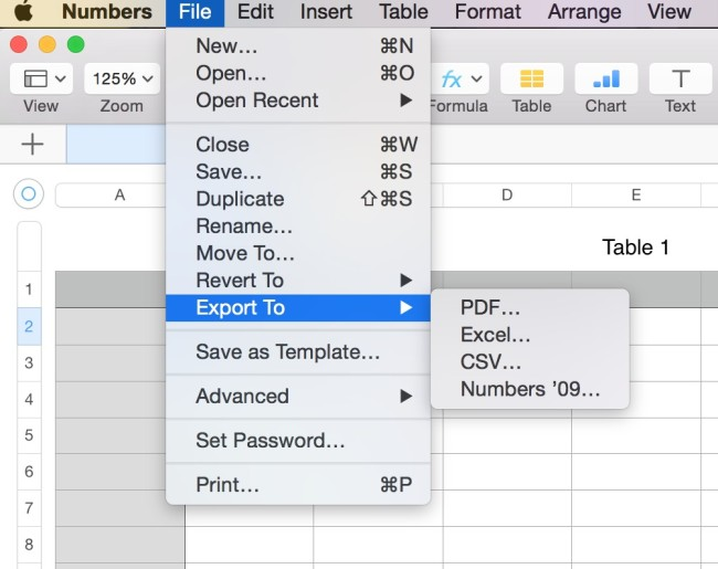 create Microsoft office compatible files in Mac for numbers