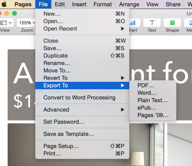create Microsoft office compatible files in Mac for pages