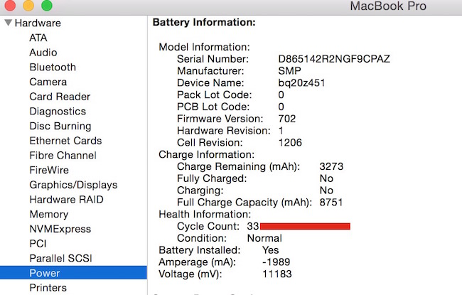 How to check MacBook's battery cycle
