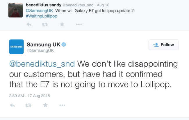 Android Lollipop for Galaxy E7