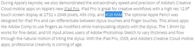 iPad Pro RAM confirmation 4GB By Abode