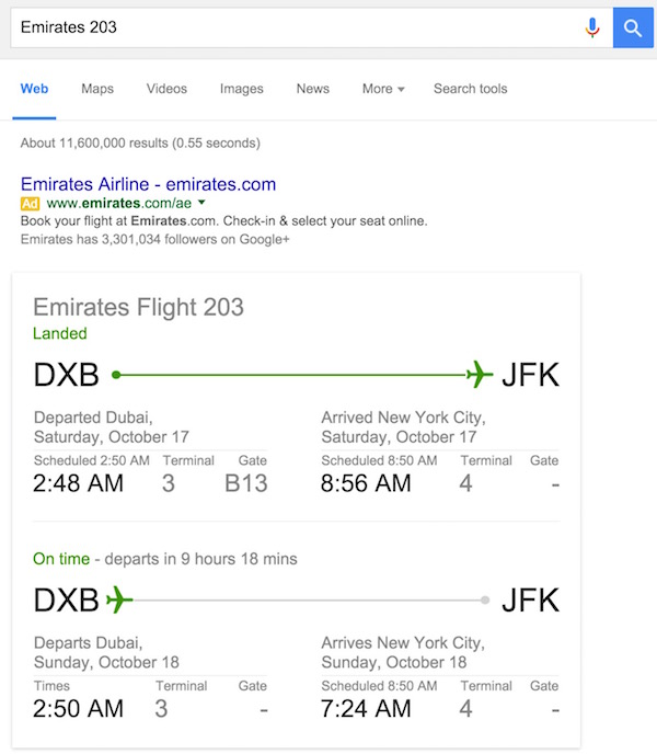 Check Flight Status in Google Search
