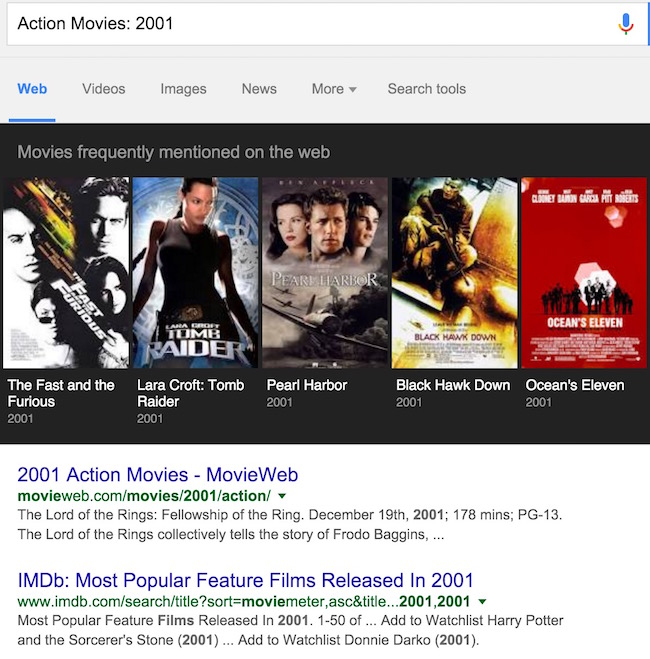 Google search action movies