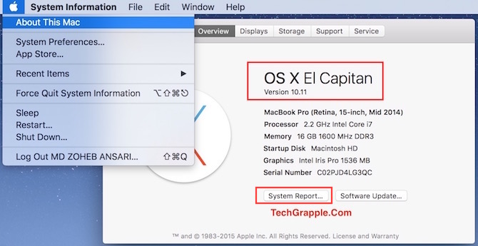How to check if what OS X version my macbook iMac has