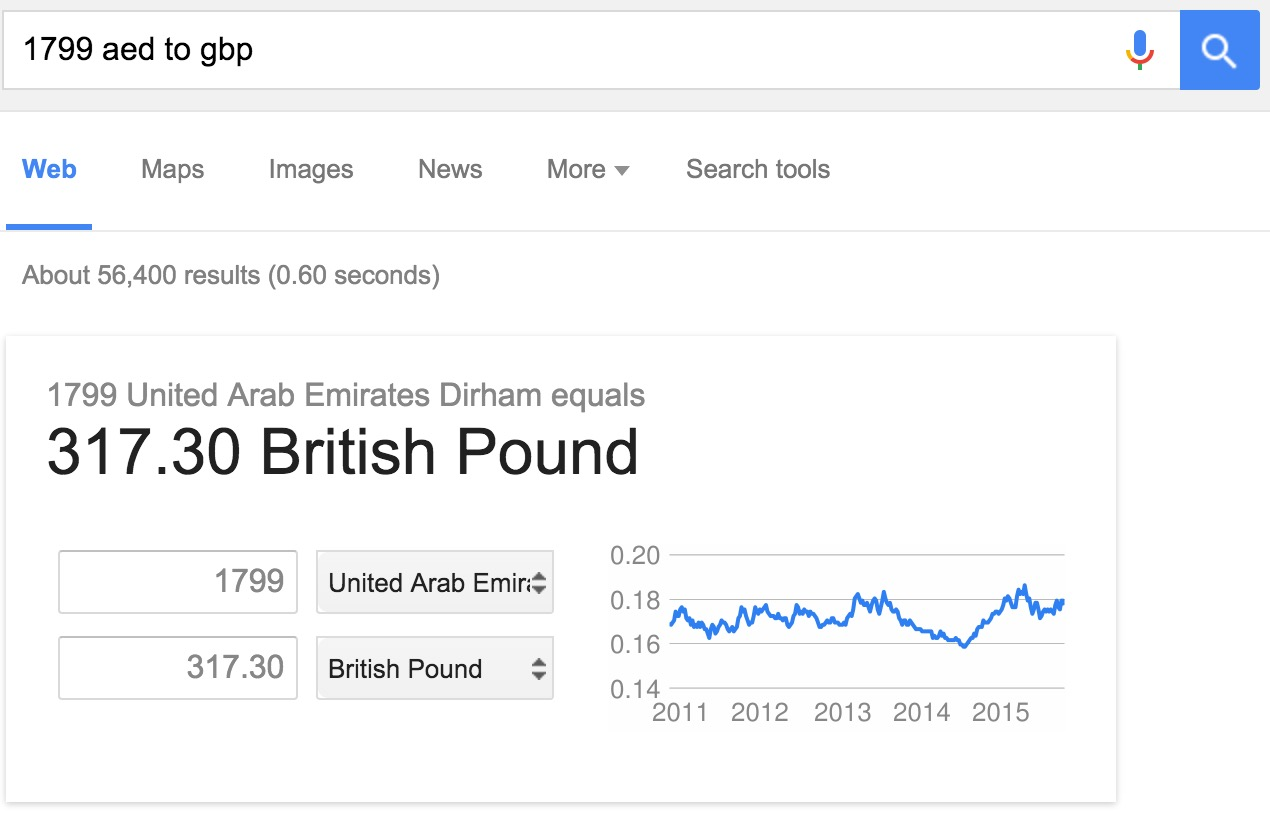 currency converter in google search