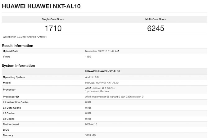 Kirin 950 Huawei Mate8 benchmark score geekbench 3