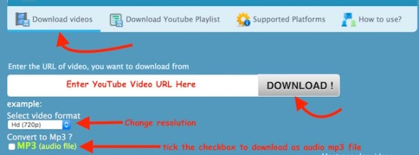 Download Video as Video or audio file