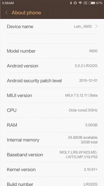 LeTV One X600 MIUI 7 English ROM