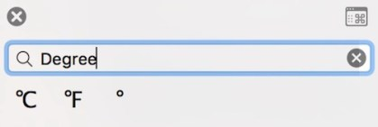 Type Degree Symbol on Mac