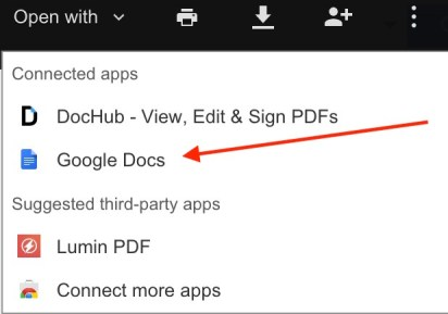 Google Docs Open With