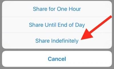 Share location step 3