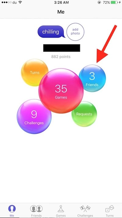 Tap on Friends in game center