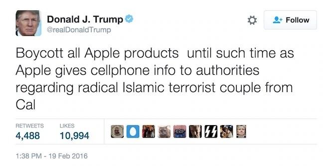 Trump apple boycott