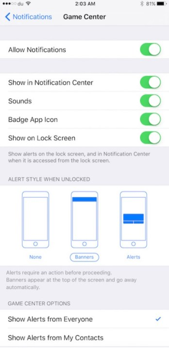 iOS Game Center Notification