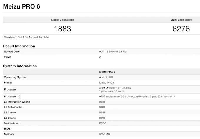 Meizu Pro 6 Geekbench 3