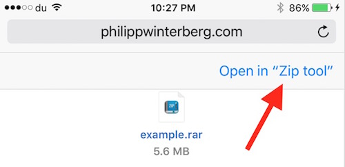 Safari Rar Open Option