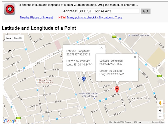 Lat Long with Address and map