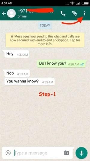 Block WhatsApp User Android step 1