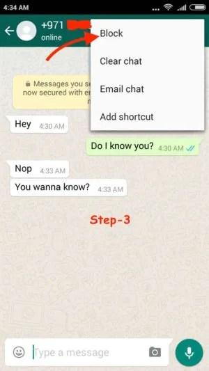 Block WhatsApp User Android step 3