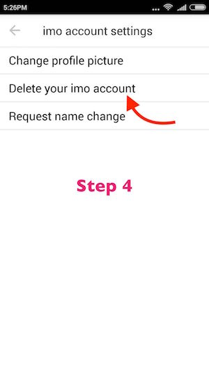 Delete imo account Android