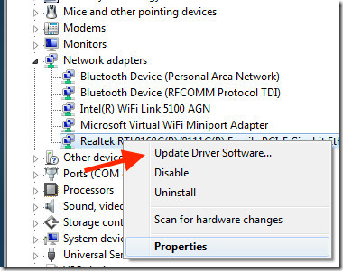 Network adaptor update windows
