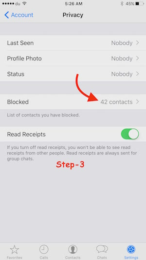 Unblock Contact on WhatsApp iPhone Step 3
