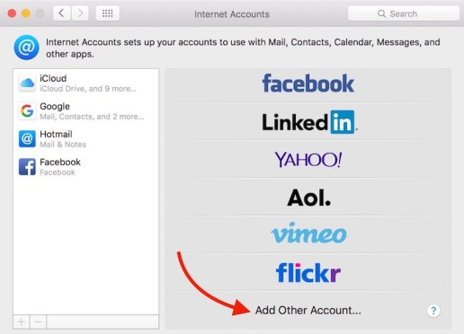 Adding email account on Mac